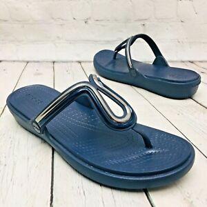 Crocs Women's 11 Sanrah Metal Block Blue Thong Flip Flop -Dual Comfort Sandals