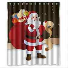 Fashion Waterproof Merry Christmas With Santa Claus Fabric Shower Curtain US