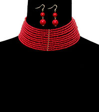 HOT Celeb Statement Gold Red Pearl Wide Choker Necklace Set By Rocks Boutique