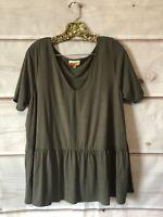 Fervour ModCloth Olive Green Peplum Top Women's Size 1X