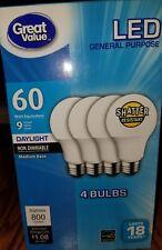 4 Pack Non Dimmable LED Daylight 9 Watts 60 Watt equiv Light Bulbs 800 lum A2