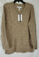 Magaschoni Women's Alpaca Wool Blend V-Neck Pullover Sweater XS Beige NEW
