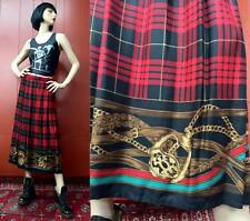 Vintage 90s Punk Horse Skirt Red Plaid Equestrian Scarf Grunge Long 10