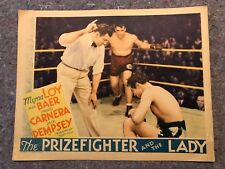 "THE PRIZEFIGHTER AND THE LADY 1933 ORIG. LOBBY CARD 11""x14"" (F+) VERY RARE CARD"