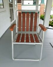 Vtg Red Wood Slat Aluminum Folding Patio Lawn Camping Beach Chair