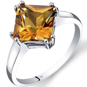 2.25 ct Princess Cut Citrine Solitaire Ring in 14K White Gold, Size 7