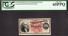 25 Cents FR# 1301 Fourth Issue Fractional Currency W/M Paper GEM UNC PCGS 65 PPQ
