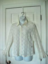 JOSEPHINE CHAUS sz L Blouse SEMI-SHEER FLORAL ECRU Lace Shirt Top Sexy Bell S