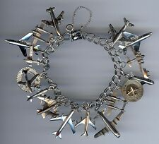 205bd0615b603c VINTAGE BEAU STERLING SILVER DOUBLE HAMMERED LINK MANY AIRPLANES CHARM  BRACELET