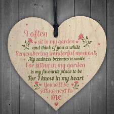 In Memory Wood Heart Garden Plaque Remembrance Dad Mum Memorial Tree Gift