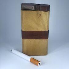 "#D33 New Handcrafted Handmade 4/"" Wood Wooden Dugout Tobacco Holder Box /& Bat~"