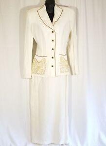 Vtg Rhonda Harness Women Sz 8 White Skirt Suit Blazer Set Career Occasion Rayon