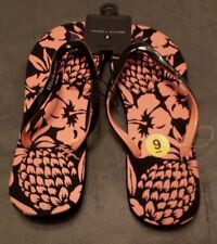Tommy Hilfiger Woman's 9M  Black Pink Beach Flip Flop Sandals Water Surf