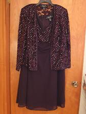 R&M Richards Women's 2PC Sequin Lace Jacket & Dress Set Size 16W Eggplant