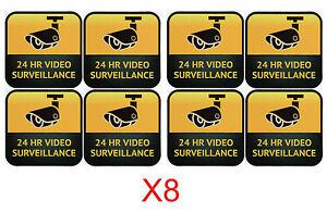 CCTV Camera Warning Stickers, Surveillance Vinyl Decal, Video Security Sign X8