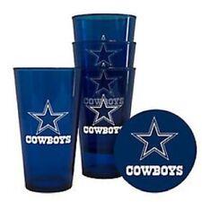 Dallas Cowboys Plastic Pint Glass - Set of 4 [NEW] NFL Cup Mug Bar