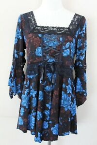 Victorian Gothic Black with Blue Floral Print Blouse Shirt Top Women's L New