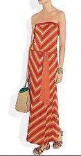 Haute Hippie  Strapeless Chevron Knit Maxi Dress  in Tangerine Sz. M NEW