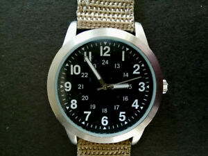 LARGE 40 MM EAGLEMOSS 1970s US INFANTRY WATCH.VIETNAM ERA.NEW BATTERY GWO