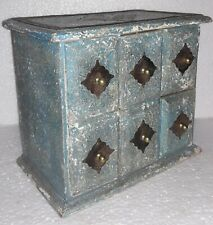 Old Wooden Metal Work Drawers Cabinet Chest Jeweler Trinket Storage Collectible