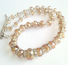 Stunning Handmade Light Brown Crystals Clear Rondelle Spacer Necklace