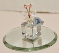 Vintage Collectible Faceted Crystal Miniature Butterfly& Flower on Mirror -Euc