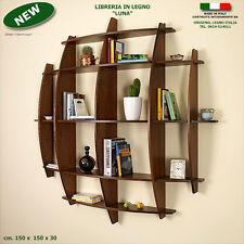 """Libreria """"LUNA"""" in legno noce mensola scaffale a parete muro ufficio studio"""