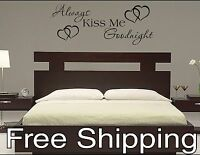 ALWAYS KISS ME GOODNIGHT with HEARTS vinyl wall decal sticker romantic quote