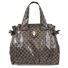 37038 auth GUCCI blue & grey CRYSTAL GG Monogram HYSTERIA Tote Handbag Bag