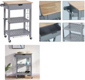 Wood Portable Kitchen Island Cart / Storage Trolley Serving Unit On Wheels