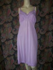 Vintage Snowdon Purple Silky Nylon Embroidered Slip Nighty Lingerie 36