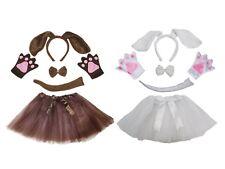 Halloween Dog Headband Bow Tail Paw Skirt 5p Girl Kid School Party Costume