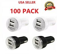 100x Dual USB Car Charger Adapter 2.1A For LG HTC Samsung iPhone All Cell Phone