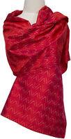 Ikat Schal 100% Seide, handgewebt, silk soie scarf stole écharpe  Rot red rouge