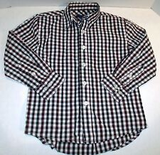 Black White Red Plaid Button Down Dress Shirt Collar Adj. Cuffs Size 4/5 C-2