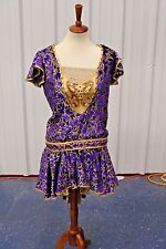 Custom Purple Gold Floral Dress Show Girl Cabaret Show Prom Costume*SHIPS FREE!