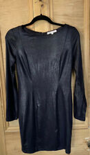GLAMOROUS DRESS BLACK Blue Size 12 FAUX LEATHER SLEEVES stretch PARTY