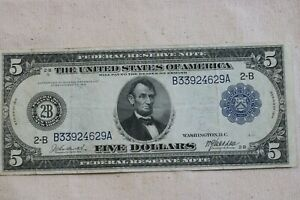 1914 $5 FEDERAL RESERVE NOTE, NO TEARS, NO PINHOLES  F-848