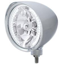 """Chrome 7"""" Billet Style """"CHOPPER"""" Headlight w Smooth Visor - 34 White LED H4 Bulb"""