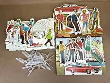Instructo Cardboard Paper Doll Stand Up Seasons Summer Fall Winter Scenes 1970s