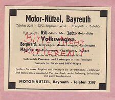 BAYREUTH, Werbung 1949, Motor-Nützel NSU-Sachs-Motorräder Borgward Magirus Auto