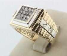 14K White & Yellow Gold Screw Watch Design 0.50ct Diamond Men's Ring - Size 11.5