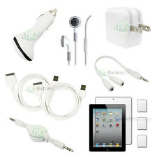 10 pcs Bundle Kit White USB Cable+2x Car/Wall Charger for Apple iPad 2 10.1""