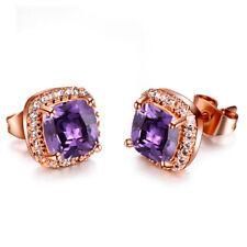 Rose Gold Princess Cut Champagne/Purple/Yellow/Green Topaz Square Stud Earrings