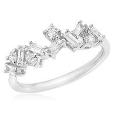Diamond Wedding Band Anniversary Ring 18K White Gold Round Baguette