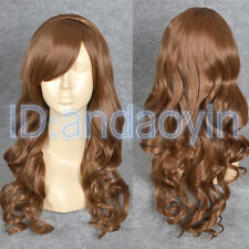 Doctor Who Amy Pond Cosplay Wig Long Curly Red Brown Hair Full Wigs + Cap