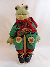 "Christmas Frog Figurine 17"" Plush Shelf Sitter Santa Hat and Poinsettia Shirt"