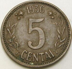 LITHUANIA 5 Centai 1936 - Bronze - VF - 3362 ¤