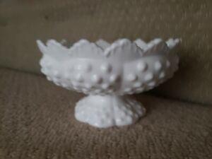 Vintage Fenton Art Hobnail Milk Glass 6 Hold Candle Holder Bowl