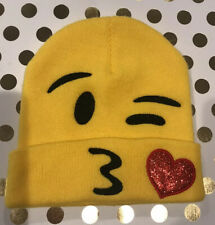 Emoji Beanie Funny Hat Winter Gift Yellow Fashion Knit Fabric One Size